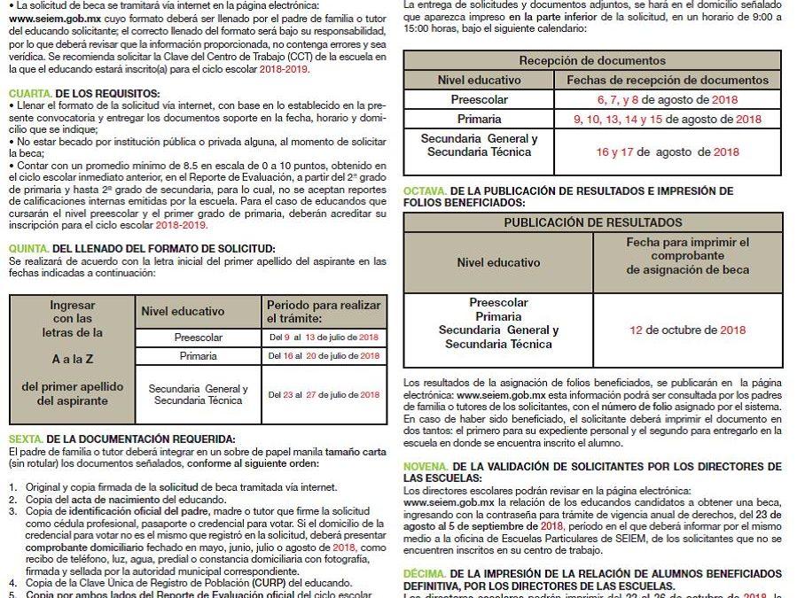 Trámite de Beca SEIEM 2018-2019